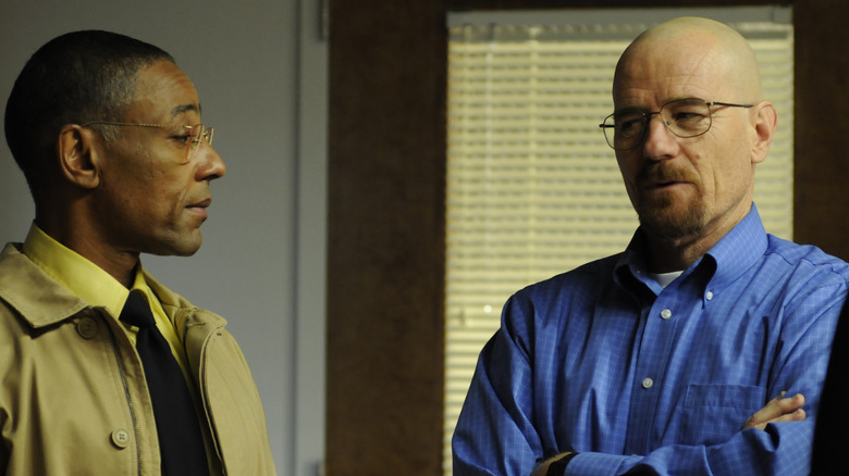 Gus Fring (Giancarlo Esposito) and Walter White (Bryan Cranston) in Breaking Bad