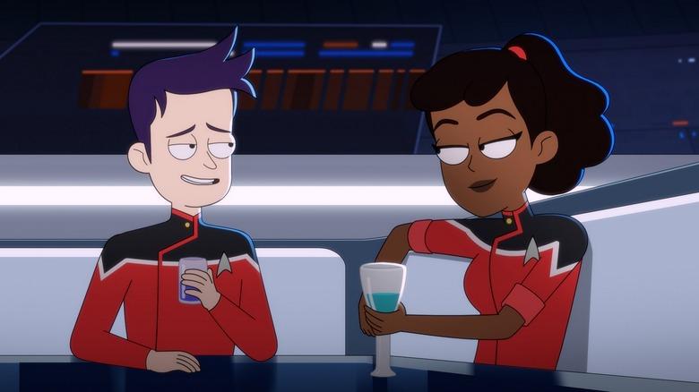 Jack Quaid as Ensign Brad Boimler and Tawny Newsome as Ensign Beckett Mariner