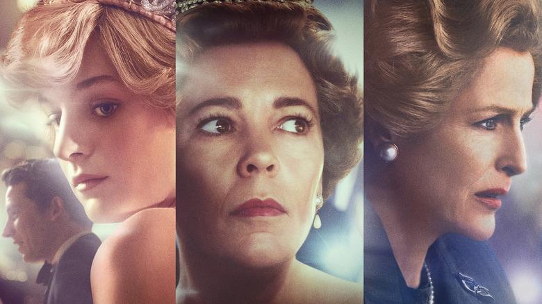 Princess Diana (Emma Corrin), Queen Elizabeth II (Olivia Colman), and Margaret Thatcher (Gillian Anderson) on The Crown