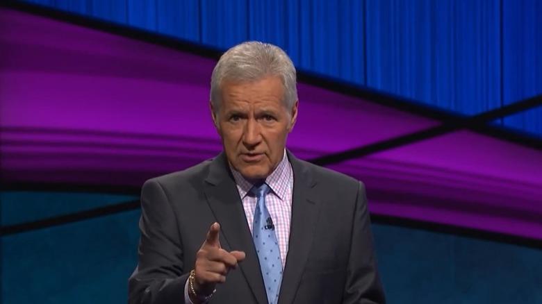 Alex Trebek on the set of Jeopardy