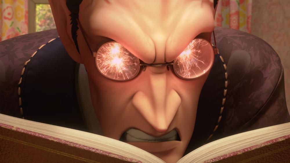 The Mandrake's eyes spark in anger