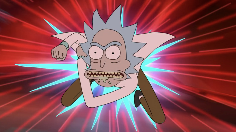 Rick flying and punching through the air while fighting Phoenixperson on the Rick and Morty season 4 finale