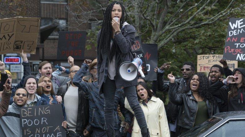 Lex Scott Davis in The First Purge protest