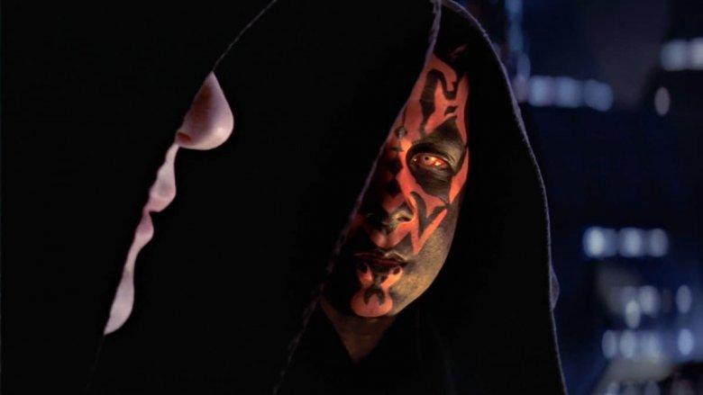 "Ian McDiarmid as Darth Sidious and Ray Park as Darth Maul in ""Star Wars: Episode 1 - The Phantom Menace"""