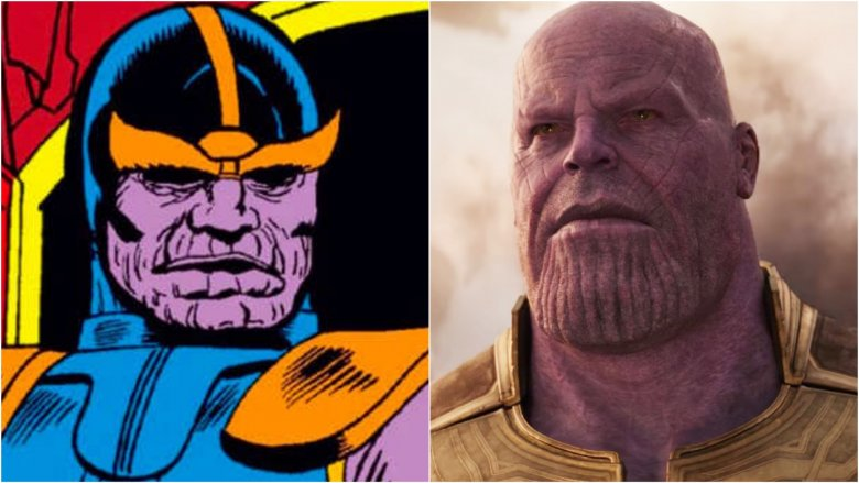 Thanos from his first comic book appearance in Iron Man #55, and Thanos in Avengers: Infinity War