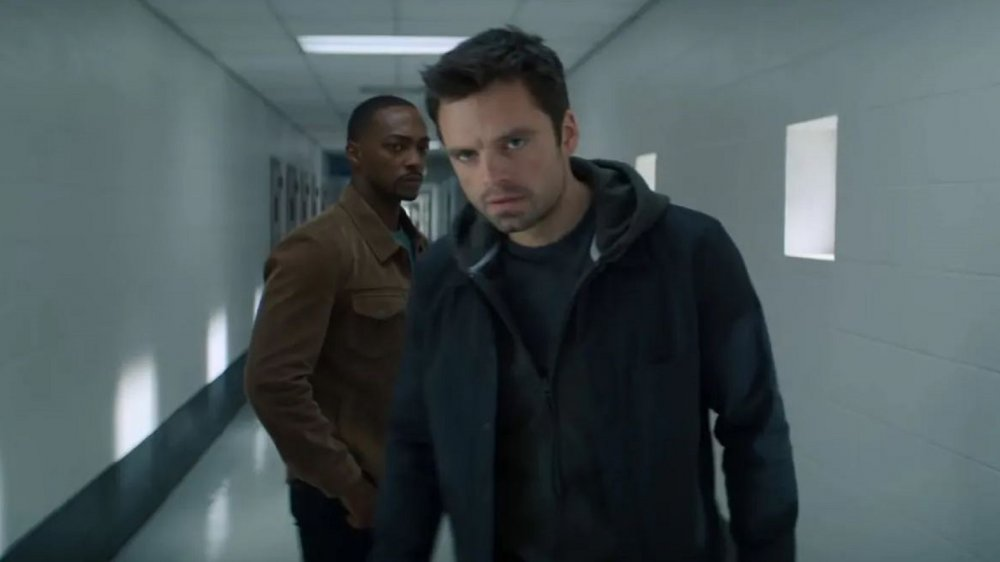Anthony Mackie and Sebastian Stan as Sam Wilson and Bucky Barnes in The Falcon and The Winter Soldier