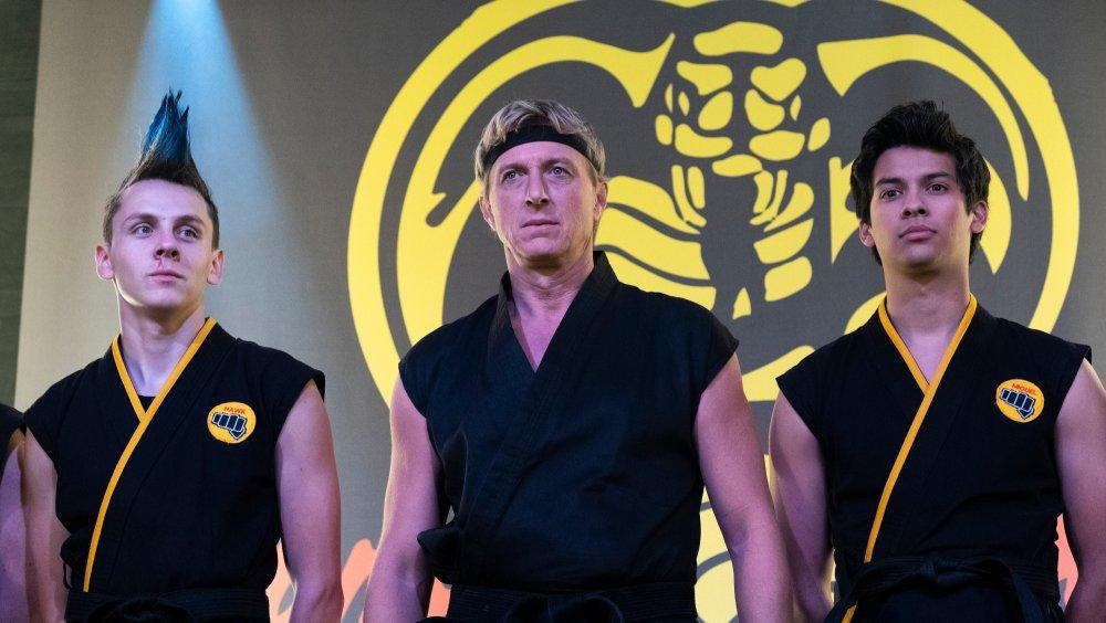 Jacob Bertrand, William Zabka and Xolo Maridueña on Cobra Kai