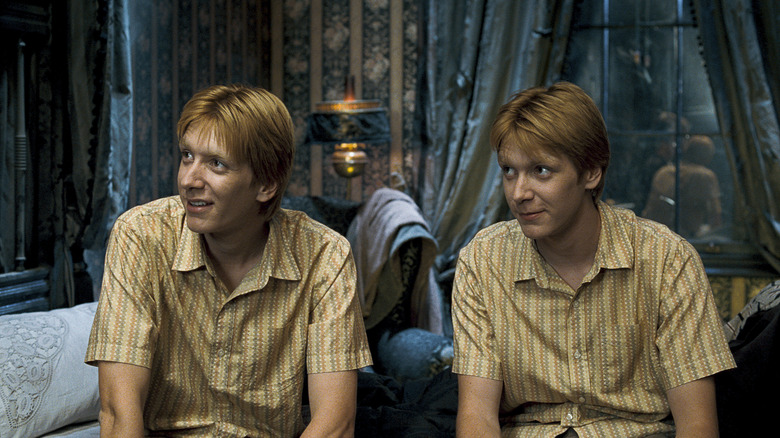 Fred and George in matching shirts