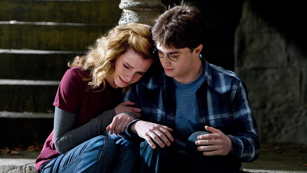 Emma Watson as Hermione Granger and Daniel Radcliffe as Harry Potter in Harry Potter and the Half-Blood Prince