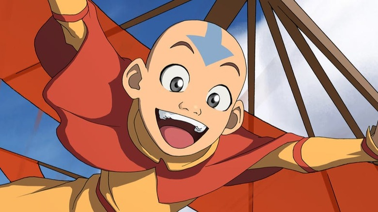 Aang gliding in Avatar: The Last Airbender