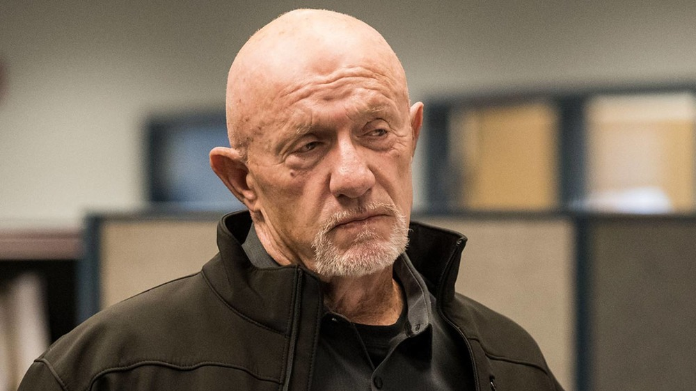 Breaking Bad Mike Ehrmantraut casts a sidelong glance