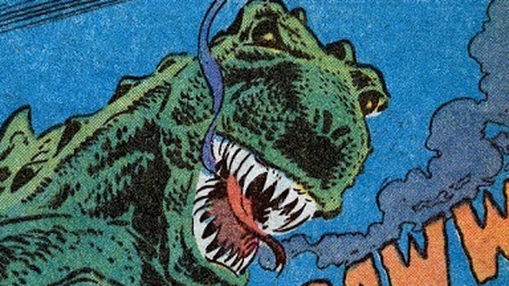 Godzilla grimaces