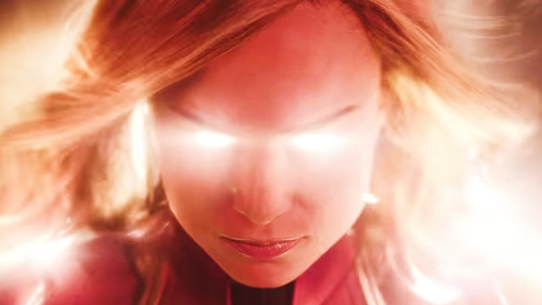 Captain Marvel with glowing eyes