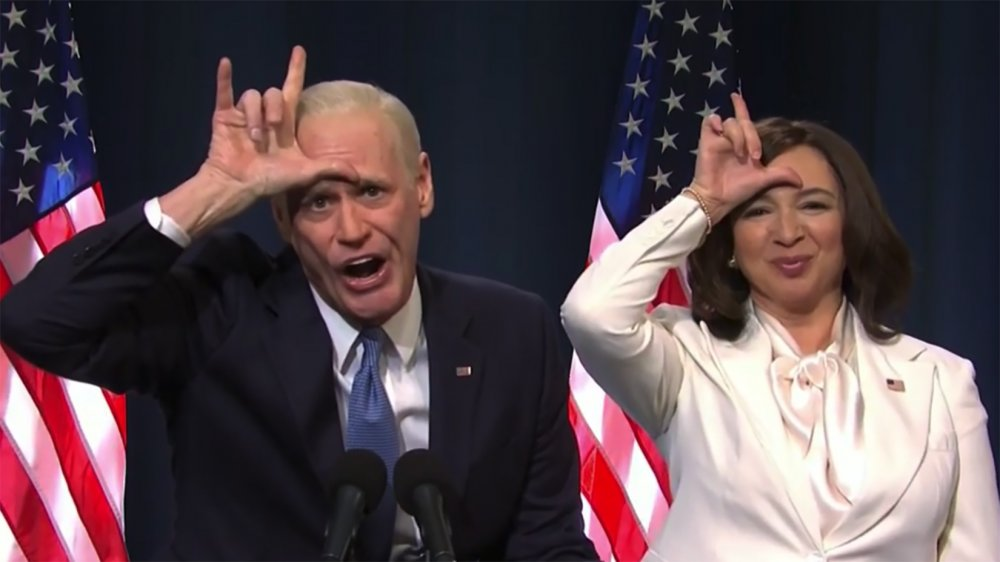 Jim Carrey and Maya Rudolph as Joe Biden and Kamala Harris on SNL