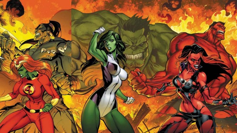 An image featuring multiple of Marvel's Hulks