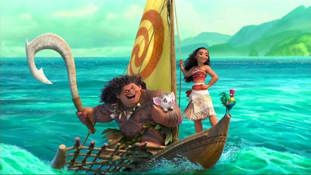 Moana and Maui on their boat in Moana
