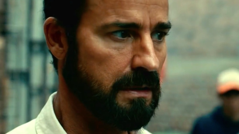 Justin Theroux looking nervous