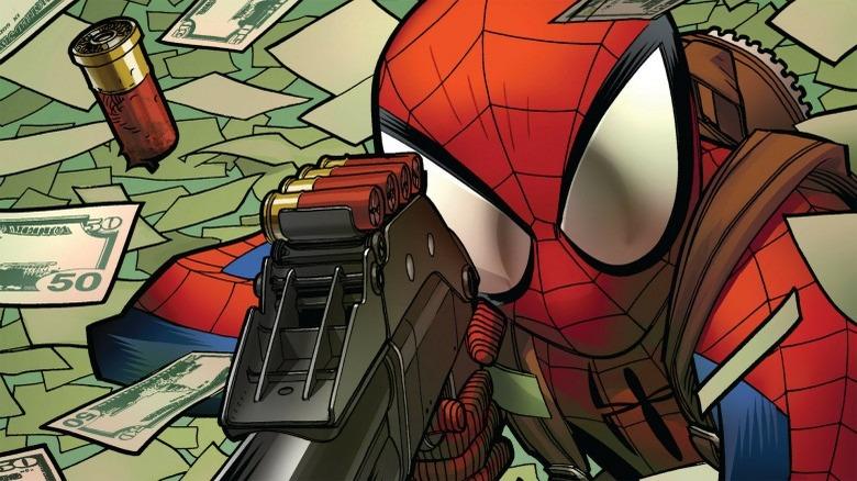 Spider-Man firing a shotgun
