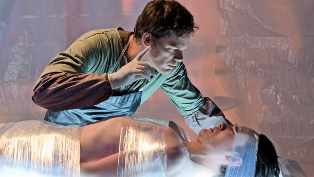 Dexter lecturing a tied-up victim