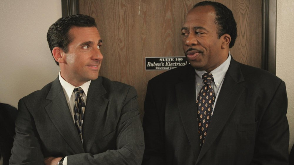 Steve Carell as Michael Scott and Leslie David Baker as Stanley Hudson in The Office