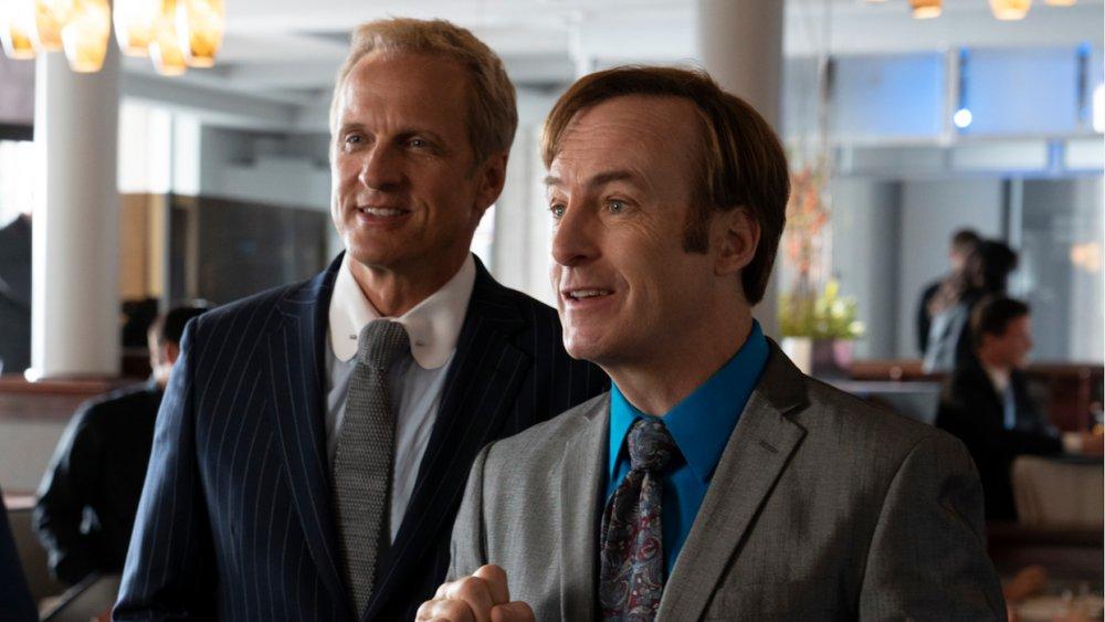 Patrick Fabian and Bob Odenkirk as Howard Hamlin and Jimmy McGill on Better Call Saul