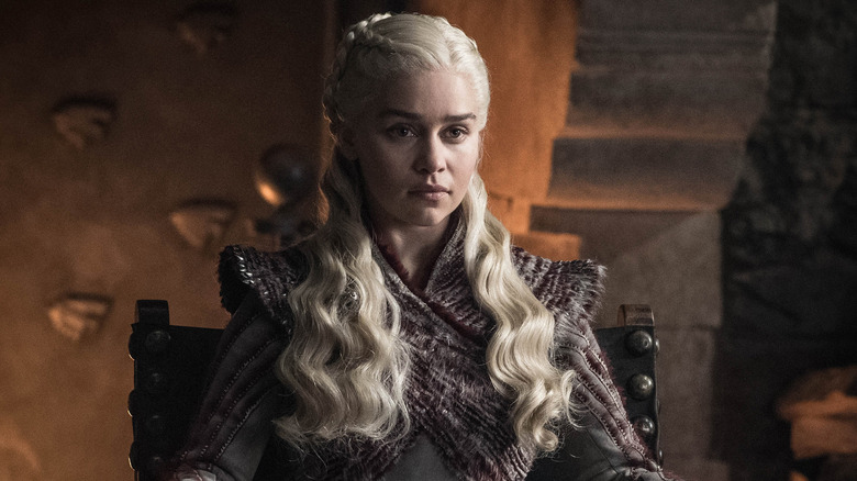 Emilia Clarke as Daenerys Targaryen on Game of Thrones season 8