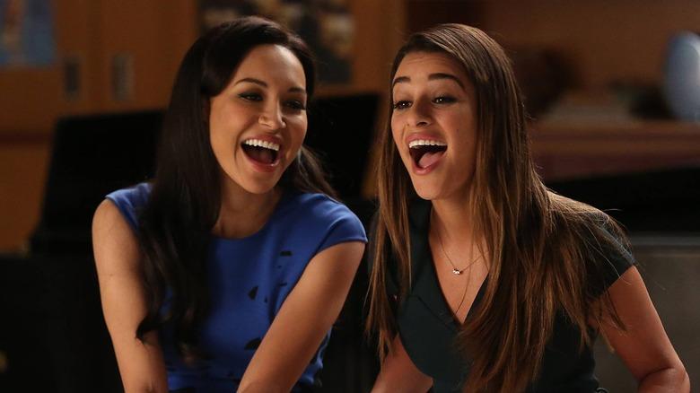 Naya Rivera as Santana Lopez and Lea Michele as Rachel Berry on Glee
