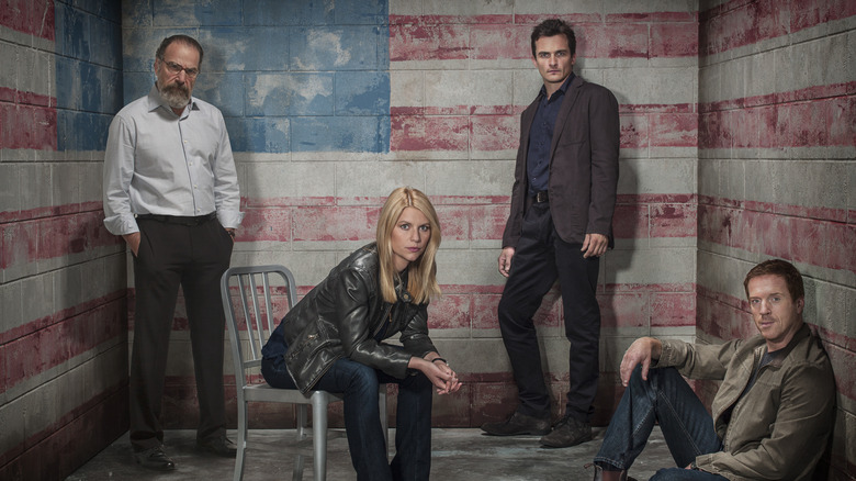 Claire Danes, Mandy Patinkin, Damian Lewis, and Rupert Friend in a promo still for Homeland