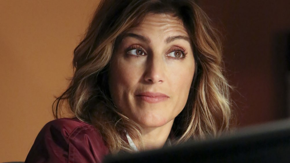 Jennifer Esposito raises her eyebrows questioningly as Special Agent Alex Quinn on NCIS