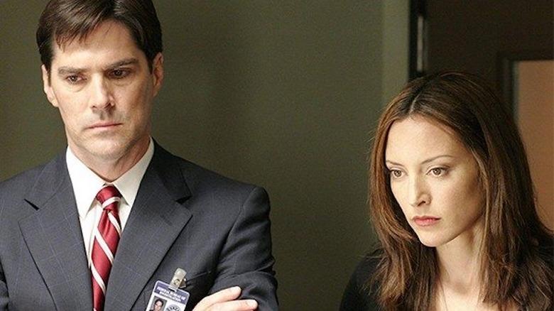 Thomas Gibson and Lola Glaudini on Criminal Minds