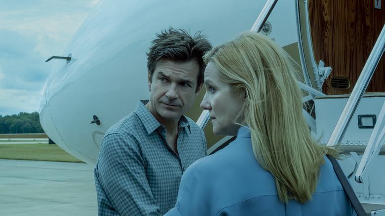Jason Bateman as Marty Byrde and Laura Linney as Wendy Byrde on Ozark