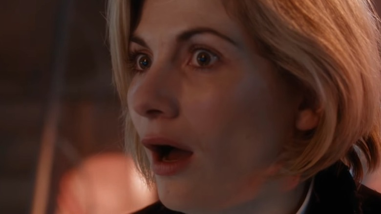 The 13th Doctor first appearing mouth open
