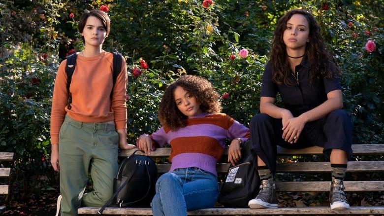 Brianna Hildebrand as Elodie Davis, Kiana Madeira as Moe Traux, and Quintessa Swindell as Tabitha Foster in Netflix's Trinkets