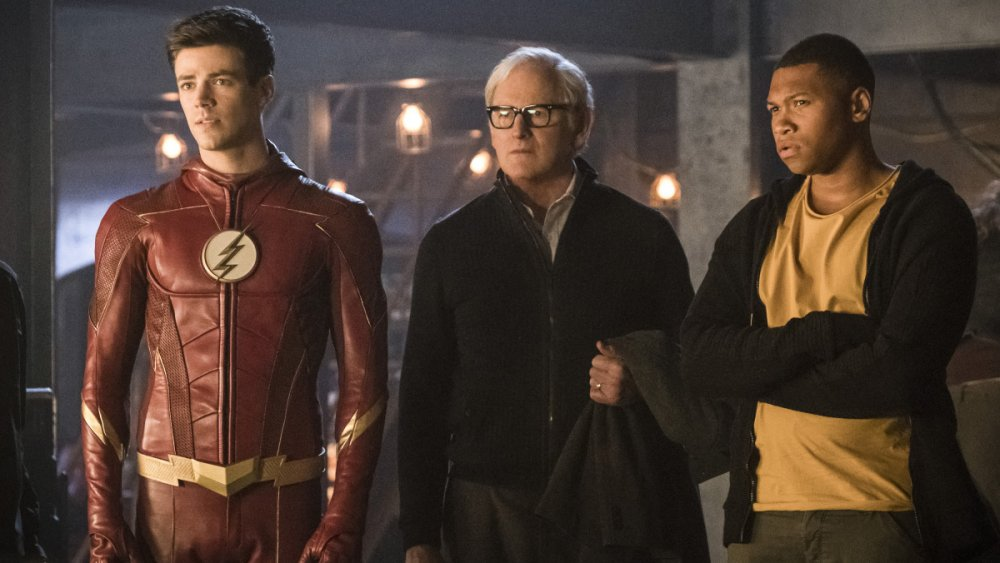 Grant Gustin, Victor Garber, and Keinyan Lonsdale in The Flash