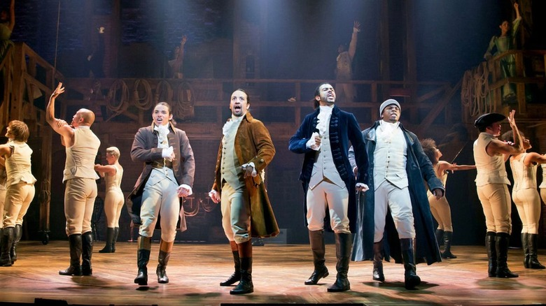The cast of Hamilton as seen in the filmed production on Disney+