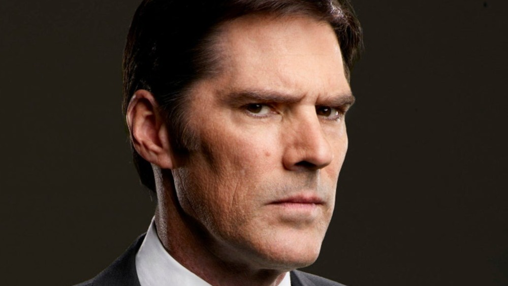 Hotch looking serious and stern on Criminal Minds