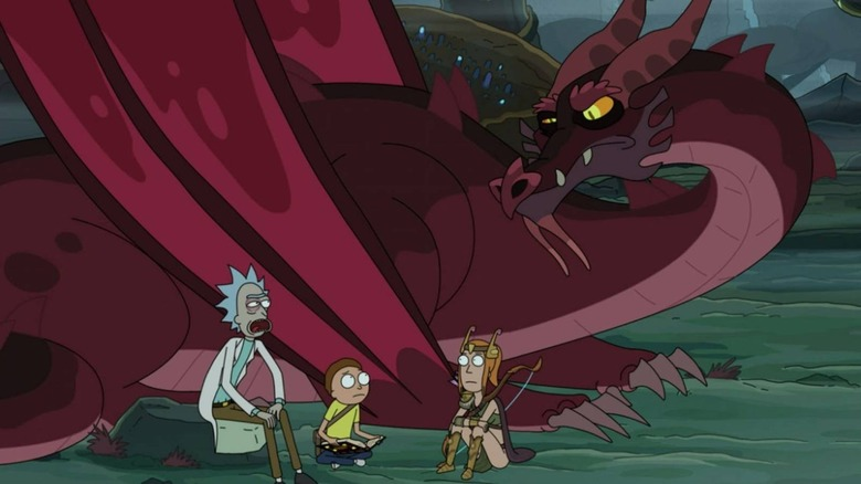 Rick meets with a dragon in season 4 of Rick and Morty