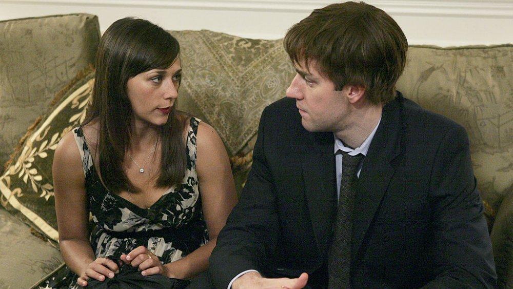 Rashida Jones and John Krasinski as Jim and Karen on The Office