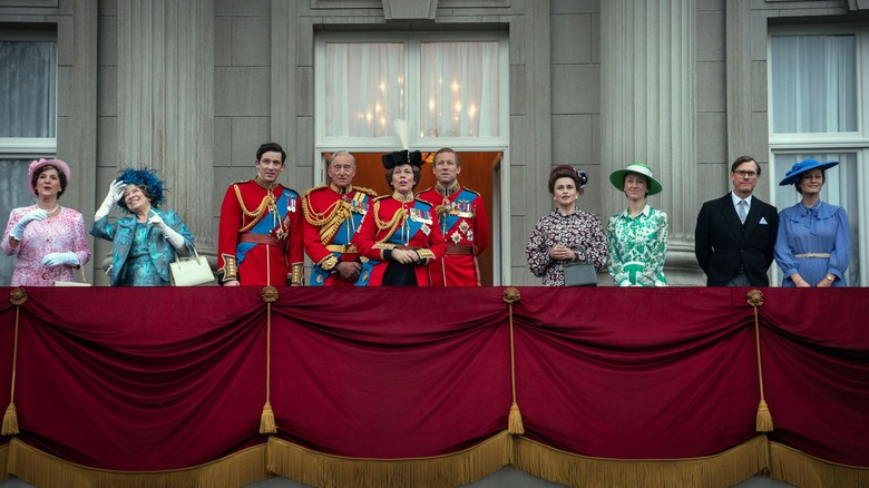 The royal family at the Trooping of the Colours on The Crown