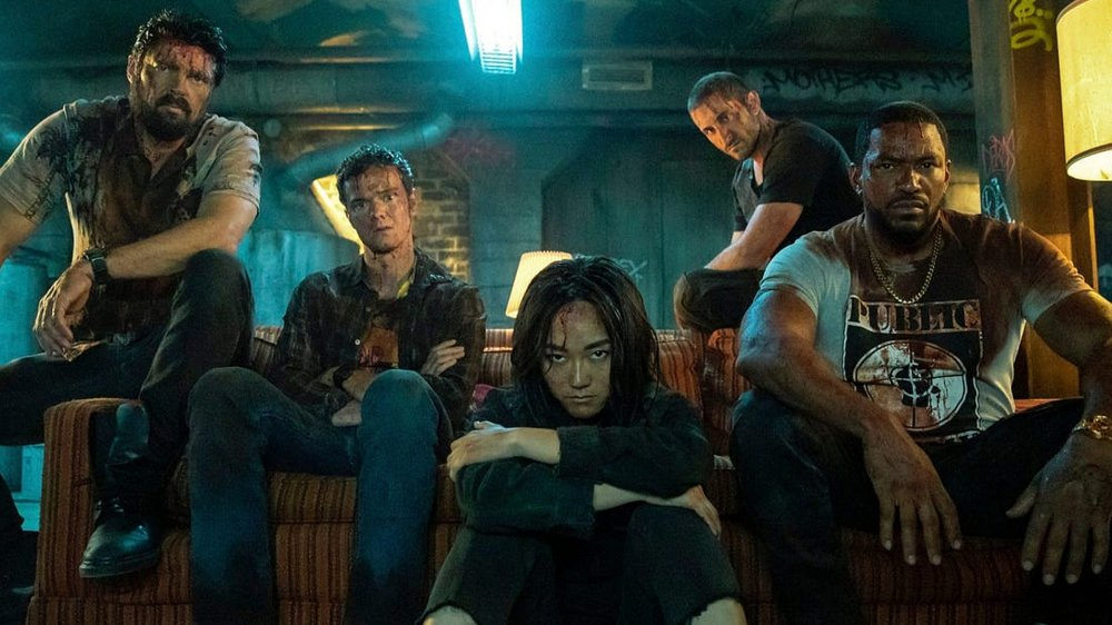 Karl Urban, Jack Quaid, Karen Fukuhara, Laz Alonso, and Tomer Capon in a promo photo for The Boys