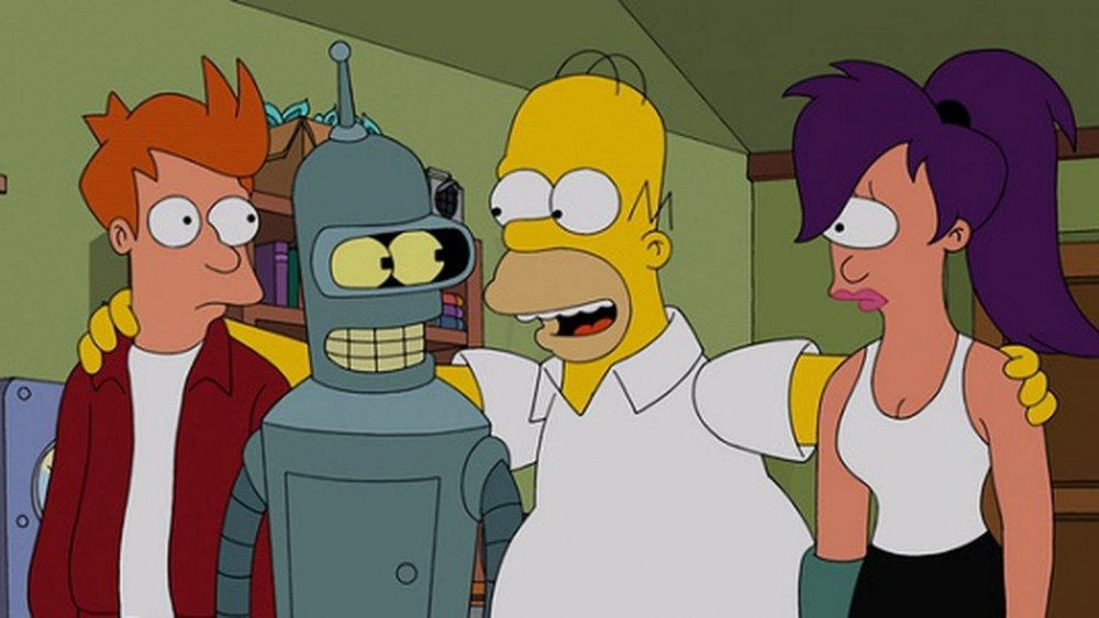 Fry, Bender, Homer Simpson, and Leela in a Simpsons-Futurama crossover