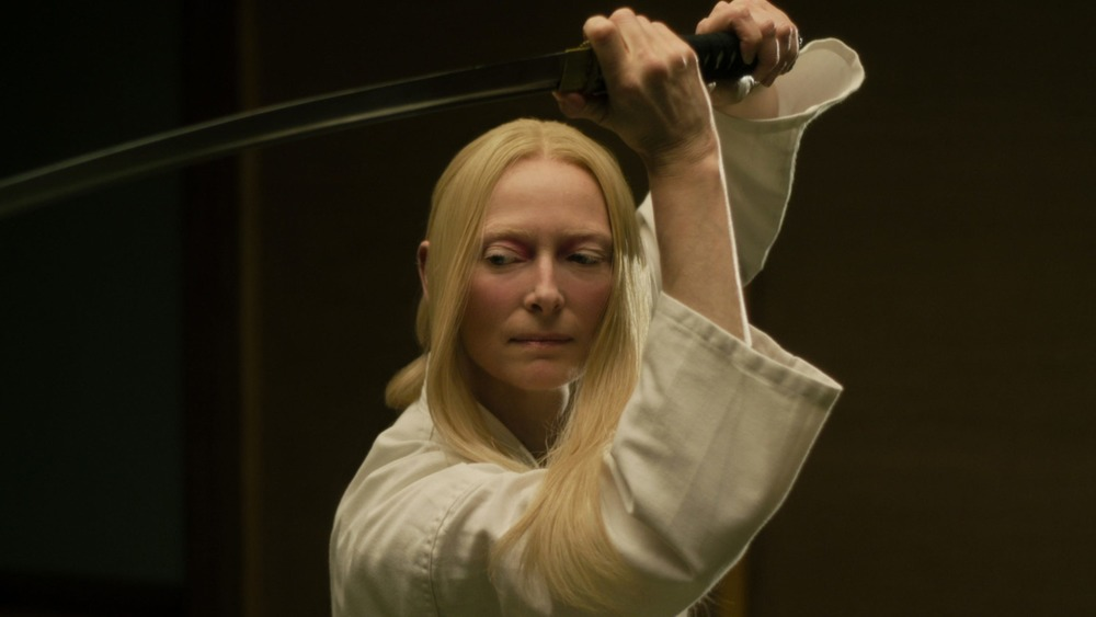 Tilda Swinton with katana