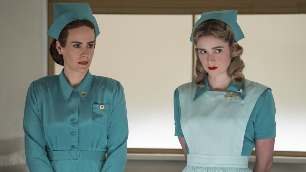 Sarah Paulson as Mildred Ratched and Alice Englert as Nurse Dolly on Ratched