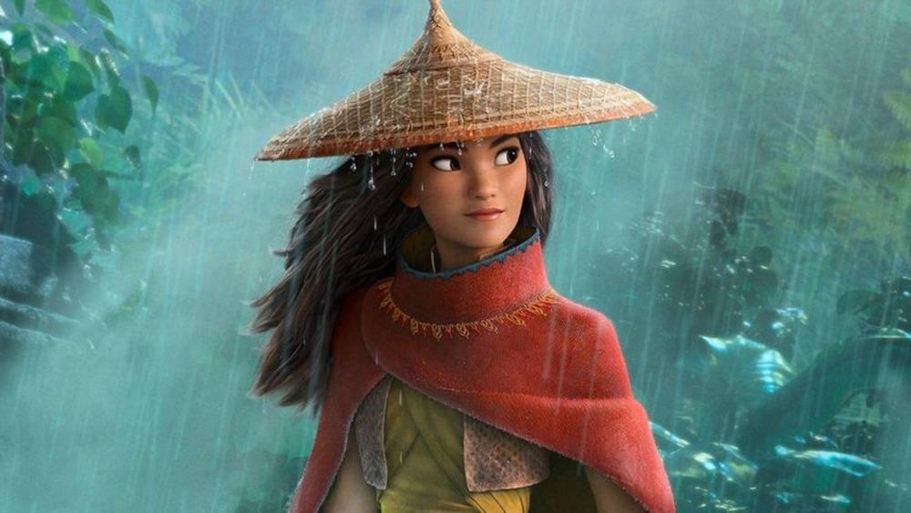 Raya wearing hat rain