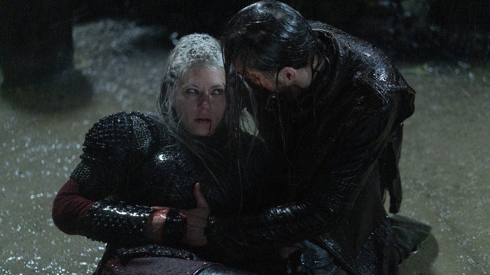 Katheryn Winnick as Lagertha and Marco Ilsø as Hvitserk in Vikings
