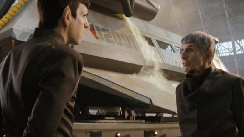 Zachary Quinto and Leonard Nimoy in Star Trek (2009)