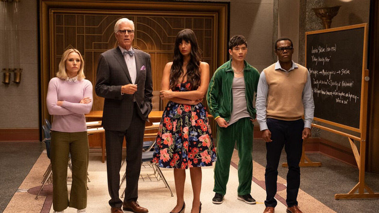 Kristen Bell, Ted Danson, Jameela Jamil, Manny Jacinto and William Jackson Harper in The Good Place