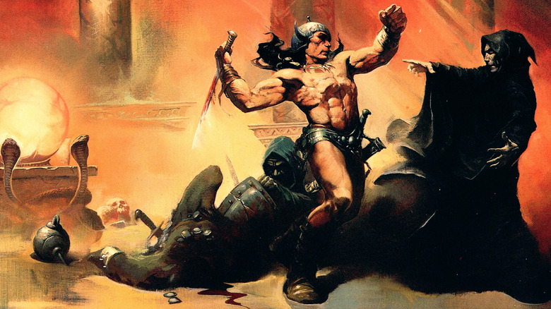 A Conan painting by Frank Frazetta