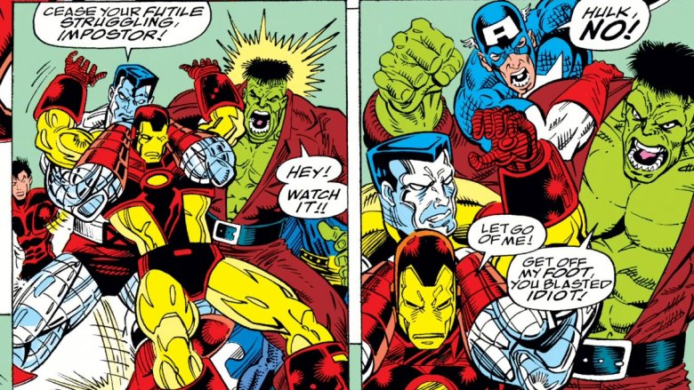 The Hulk seconds away from starting a battle royale in the Baxter Building in 1992's Infinity War #2
