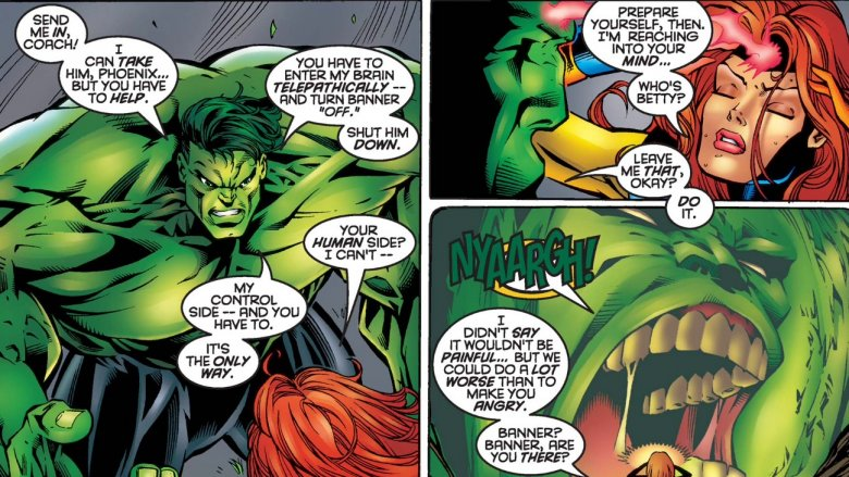 The Professor Hulk willingly giving up his persona in Onslaught: Marvel Universe